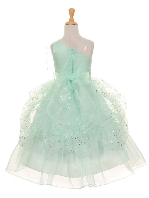 One shoulder sparking glitter flower girl dress with brooch and bowknot