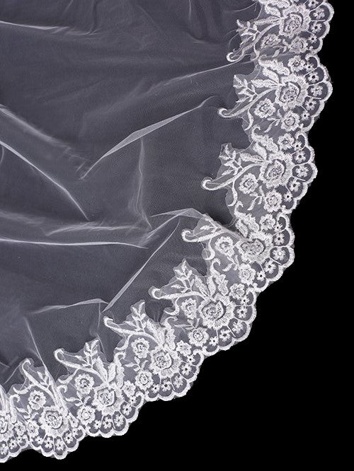 One tier 3 meters bridal veil with lace applique edge Va026