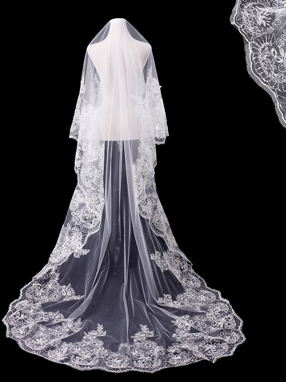 One tier 3 meters bridal veil with lace applique edge Va031