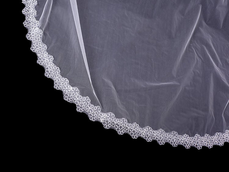 One tier 3 meters bridal wedding veil with lace applique edge Va013
