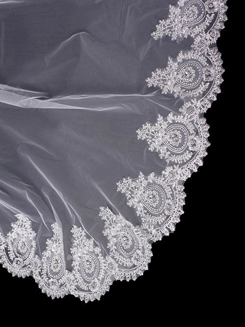 One tier 3 meters wedding veil with lace applique edge Va020
