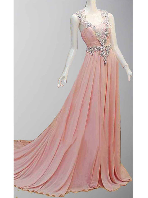 a182a0b2be9 Pink crystal tulle back chiffon A line prom gowns