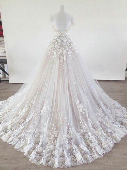 Round neck short sleeves champagne wedding dress with cathedral train