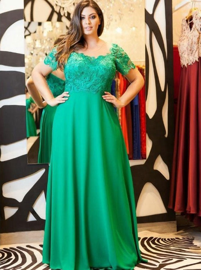Scoop short sleeves lace satin empire waist plus size prom dress