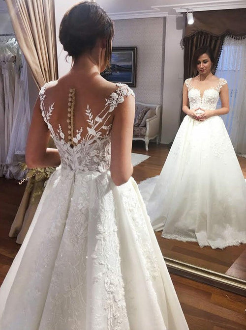 Scoop cap sleeves appliqued a-line wedding dress
