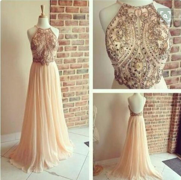 Sexy halter backless A line prom dress 2019 with beads