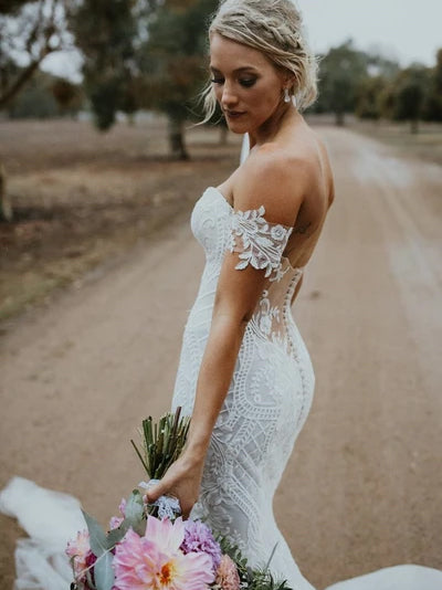 Sexy mermaid off the shoulder appliqued wedding dress
