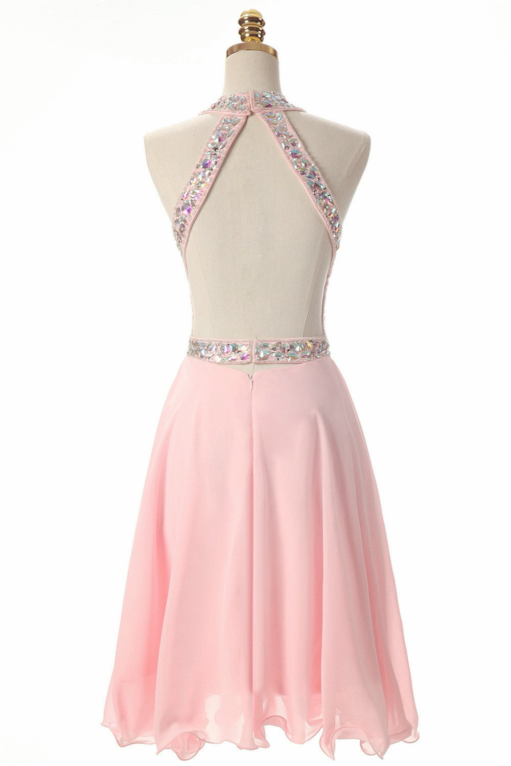 Sexy open back halter sweetheart pink chiffon prom dress with rhinestones