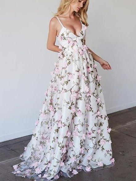 Sexy spaghetti straps colorful 3D flower prom dress