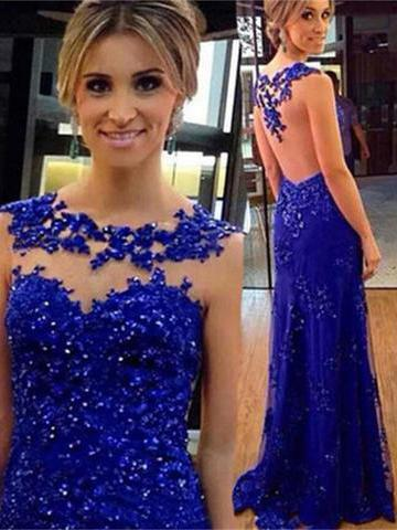 Sheath jewel appliqued sleeveless backless sexy prom dress