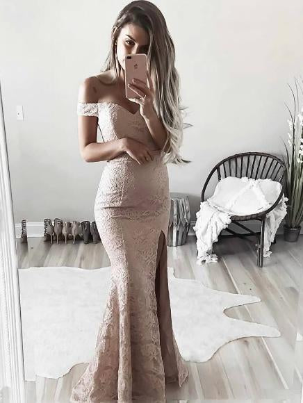Sheath off the shoulder slit lace prom dress with sweep train