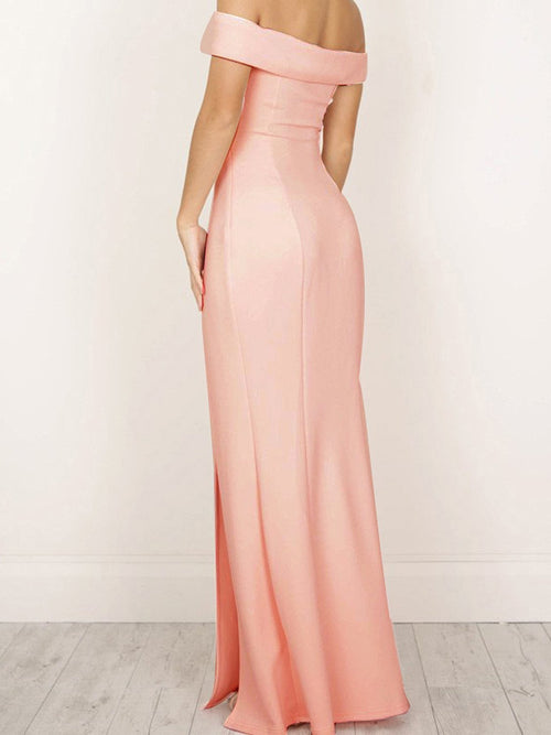 Sheath off the shoulder slit satin floor length prom dress