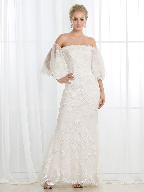 Sheath off the shoulder,square neck floor length lace wedding dress