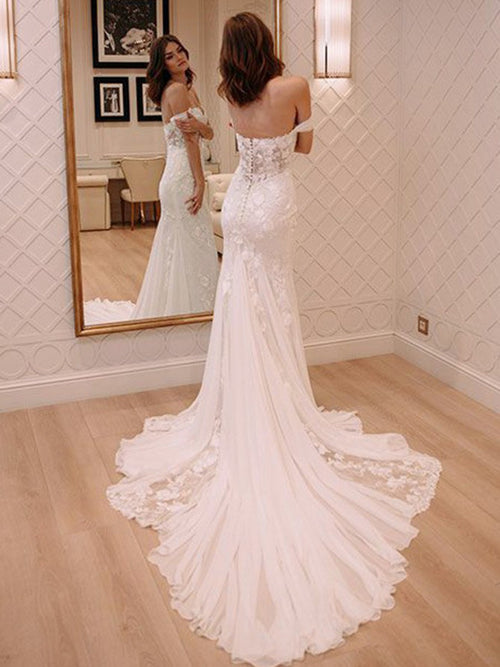 Sheath off the shoulder sweetheart appliqued wedding dress with chapel train