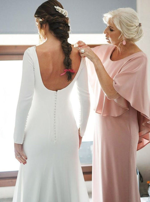 Sheath bateau long sleeves backless wedding dress with embroidery