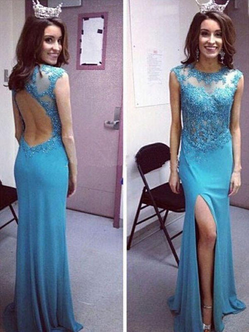 Sheath jewel sleeveless beading keyhole backless prom dress with slit