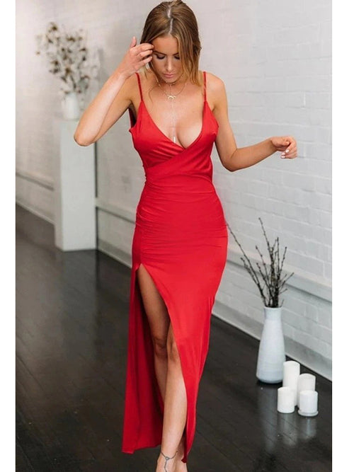 Sheath sexy spaghetti straps red taffeta slit prom dress