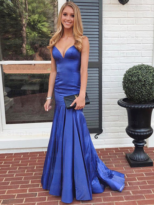 Sheath spaghetti straps sexy taffeta prom dress with sweep train