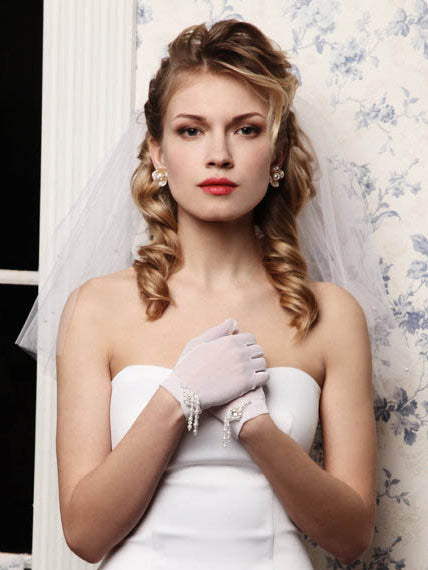 Shoulder length two-tier bridal veil with pearls