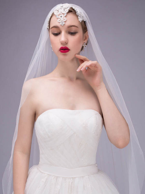 Single-tier cathedral length flowers long bridal veil