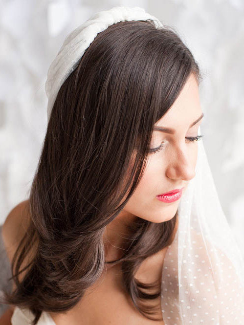 Single-tier dotted long fingertip length bridal veil
