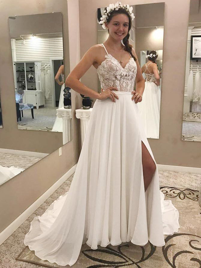 Spaghetti Straps appliqued split wedding dress with chapel train