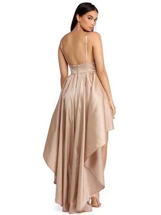Spaghetti Straps sexy high low champagne dress prom