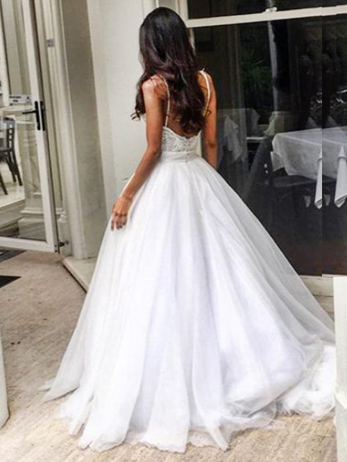 Spaghetti straps appliqued sexy ball gown wedding dress with sweep train