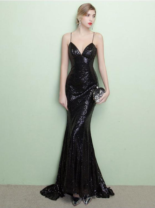 Spaghetti straps open back sequins mermaid prom dress