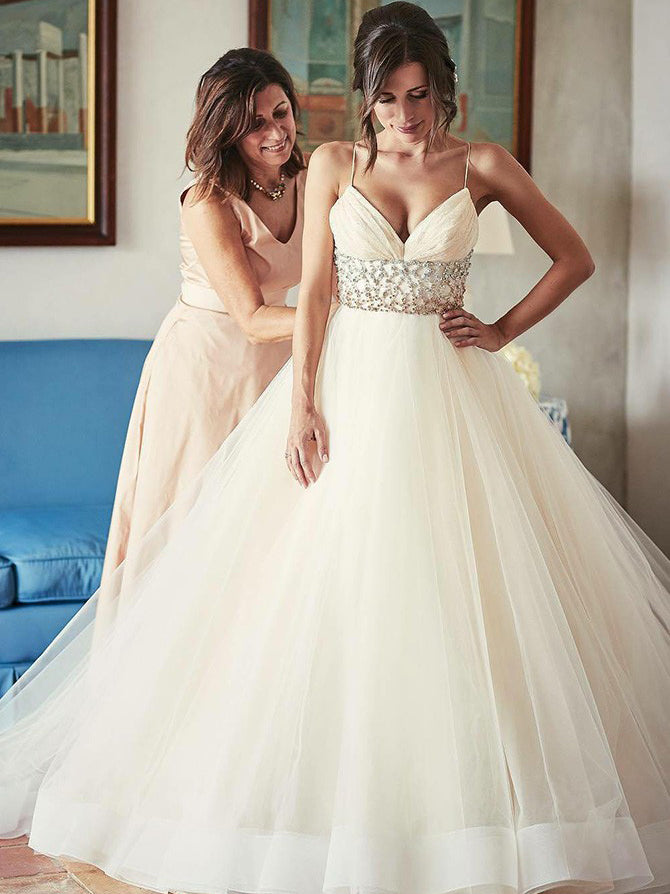 Spaghetti straps pleated empire-waist ball wedding gown with cathedral train