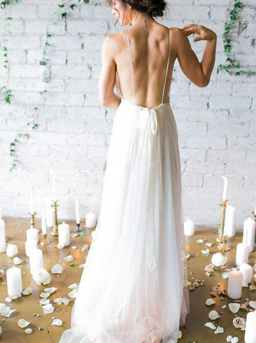 Spaghetti straps pleated sexy backless chiffon wedding dress with sweep train