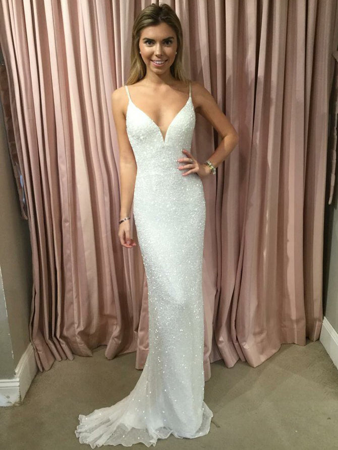Spaghetti straps sequins fabric simple column wedding dress with sweep train