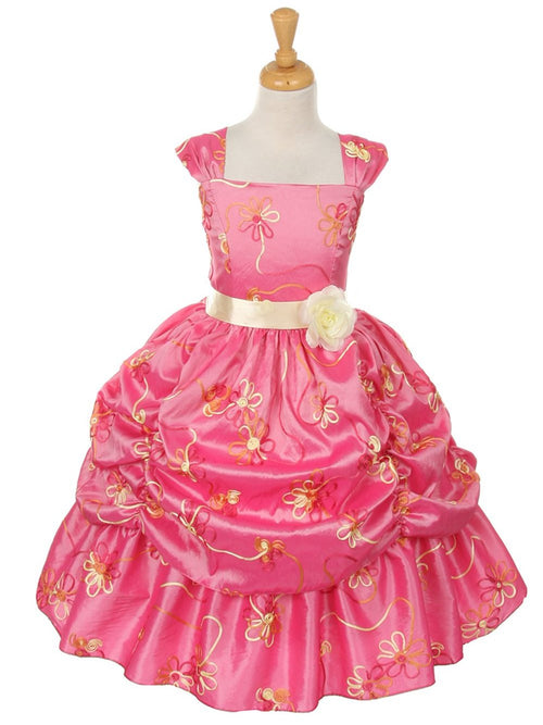 Square Neck Cap Sleeves Printed Disney Style Flower Girl Dress