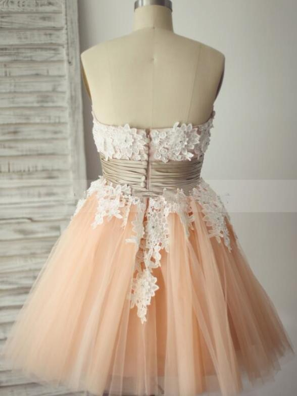 Strapless pink tulle short prom dress with ruffle belt+white applique
