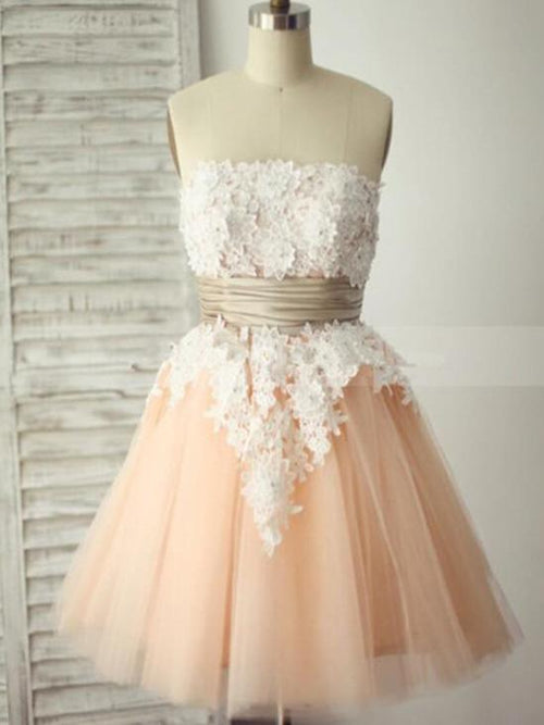 e2dd7193152 Strapless pink tulle short prom dress with ruffle belt+white applique