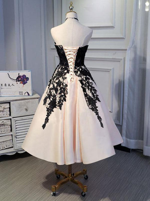Sweetheart a-line tea length prom dress with black lace applique