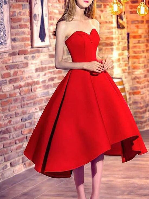 Sweetheart strapless ball gown asymmetric skirt dress for prom