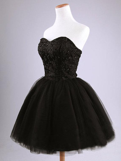 Sweetheart strapless ball gown little black dress with applique