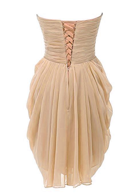 Sweetheart strapless ruffle champagne short cocktail dress