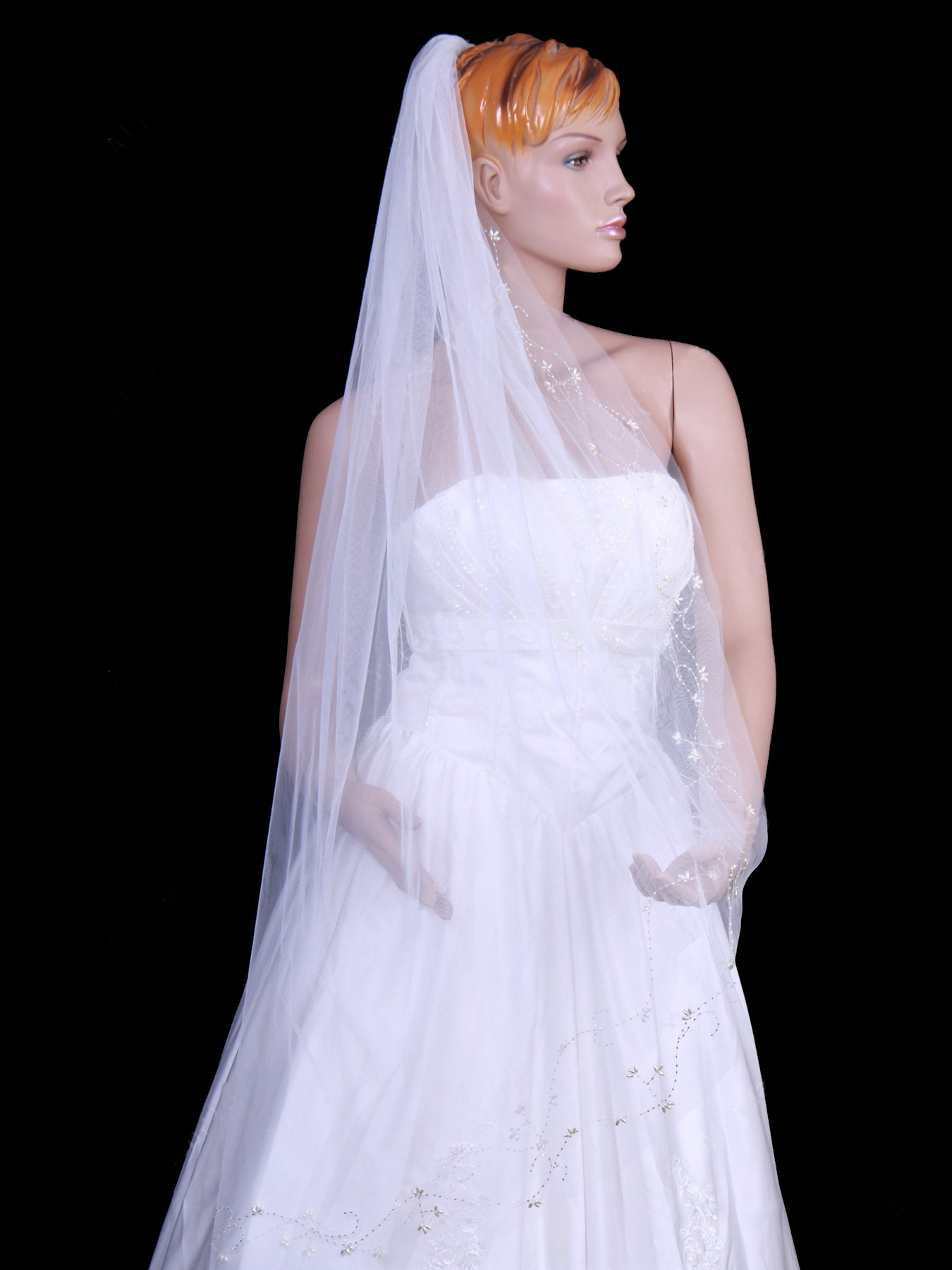 Tulle one tier chapel train wedding veil with beading Va008
