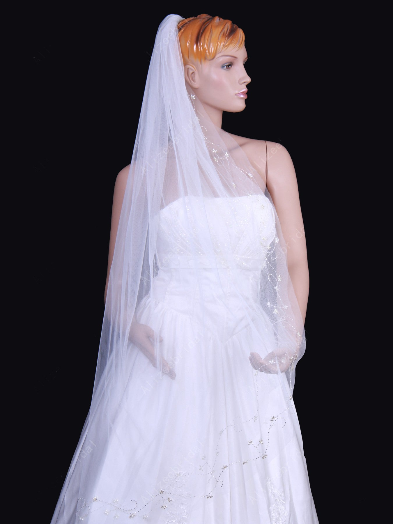 Tulle one tier chapel train wedding veil with embroidery Va019