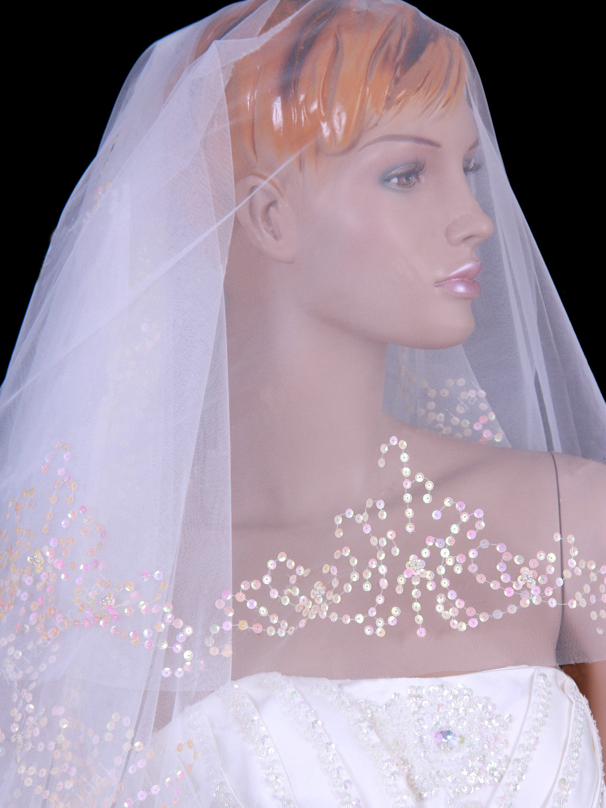 Tulle one tier chapel train wedding veil with sequins Va010