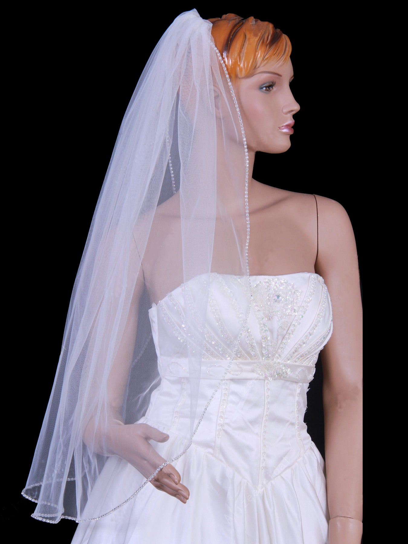 Tulle one tier elbow bridal wedding veil with beading Va012