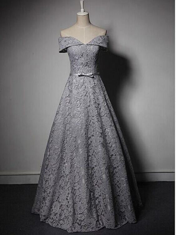 Turn down collar a-line grey lace prom dress with bowknot sash