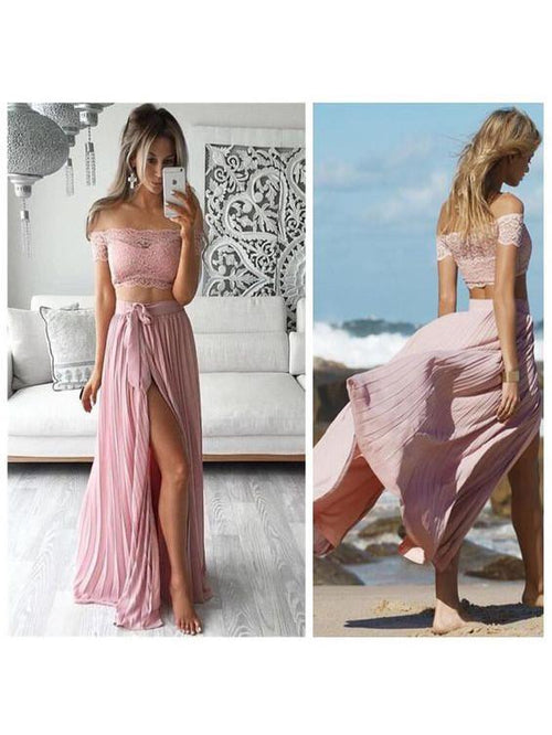 Two-piece off the shoulder lace+chiffon sexy prom dress with slit