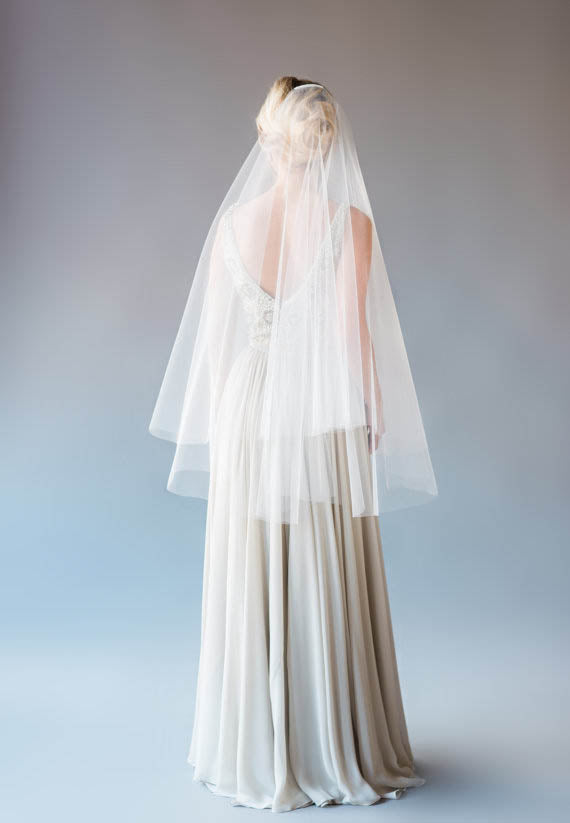 Two-tier fingertip length drop tulle bridal veil