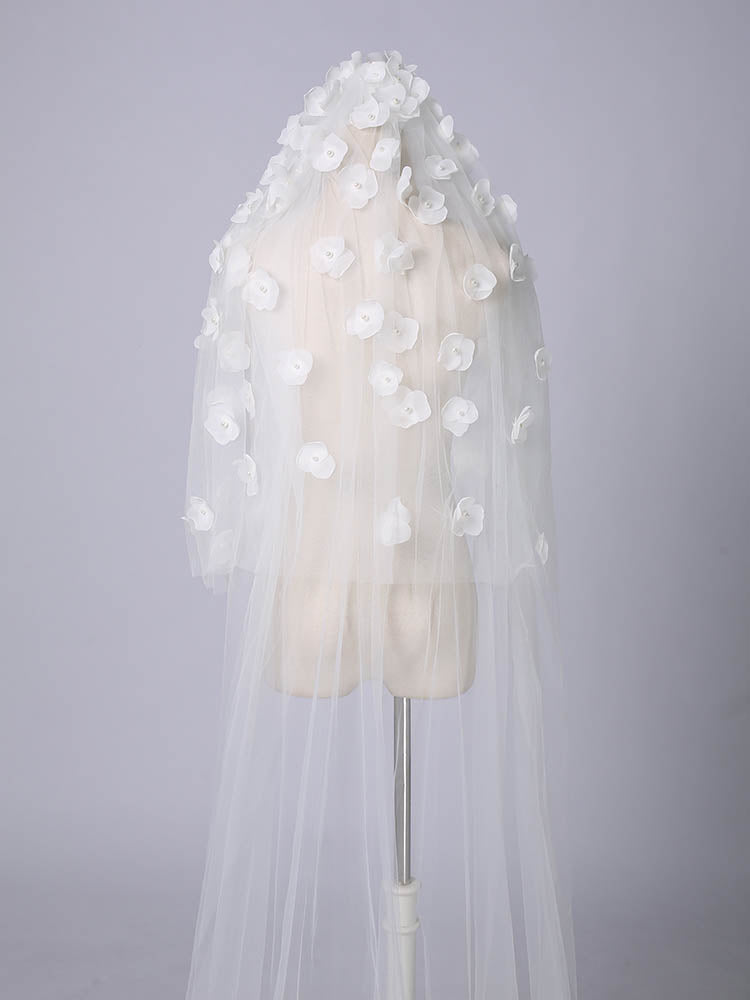 Two-tier sweep length flowers romantic bridal veil