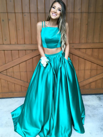 Two pieces A line fashion prom dress with pocket