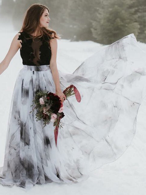 Unique sexy black-white printed chiffon wedding dress with sweep train