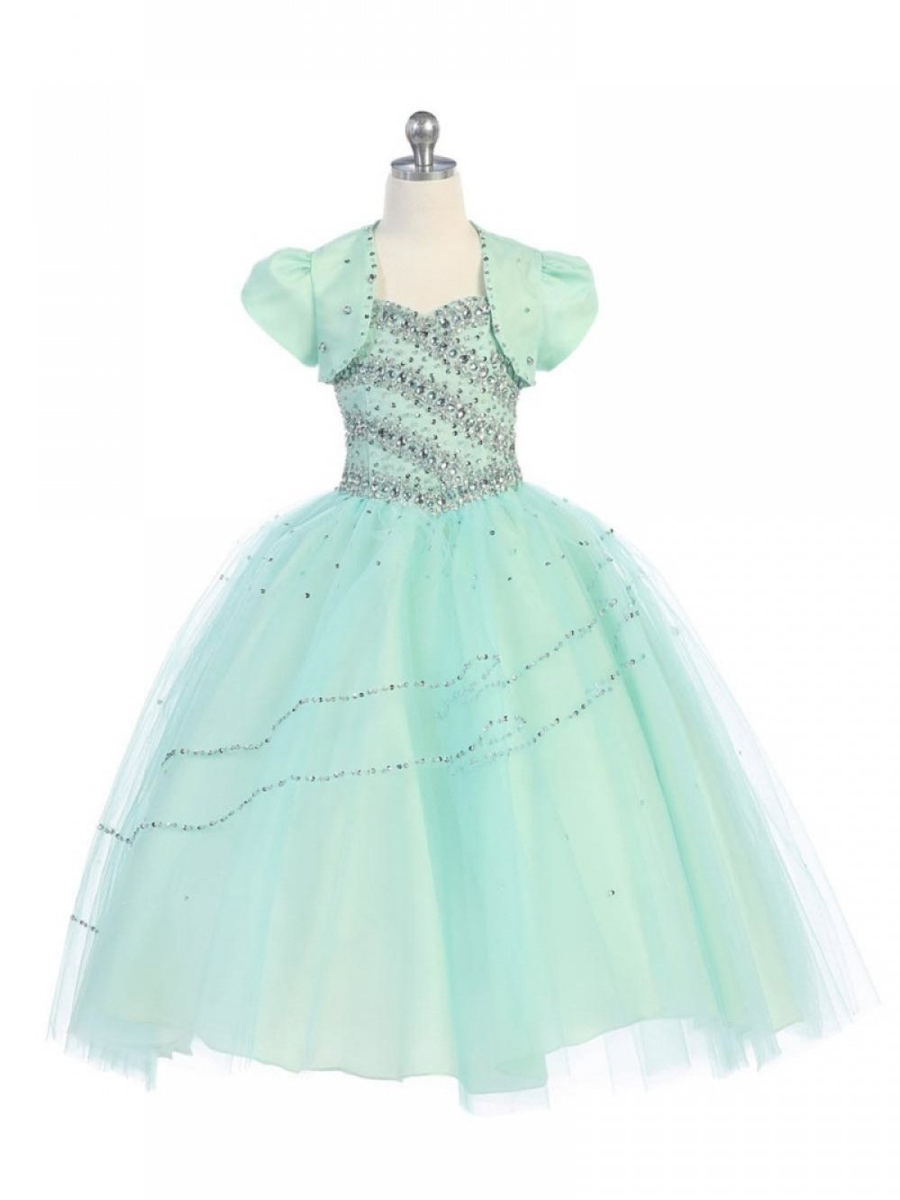 Spaghetti straps sweet heart crystal tulle lace up flower girl dress